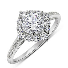 Women 10mm 14K White Gold 0.75 ct CZ Solitaire Halo Wedding Engagement Ring