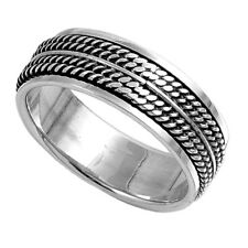 Men Women 8mm 925 Sterling Silver Band Oxidize Finish Braided Rope Spinner Ring