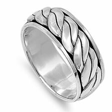 Men Women 9mm 925 Sterling Silver Band Oxidize Finish Braided Rope Spinner Ring
