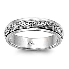 Men Women 5mm 925 Sterling Silver Band Oxidize Finish Braided Rope Spinner Ring