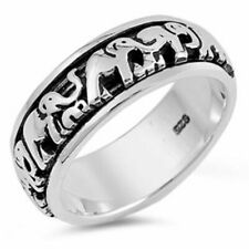 Men 7mm 925 Sterling Silver Band Lucky Elephants Spinner Ring Gift Box
