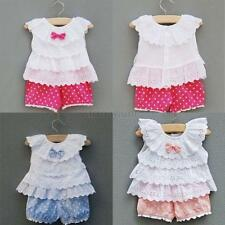 0-2Y 2pcs New Kids Baby Girls Ruffled Bow T-shirt Tops+ Dots Shorts Suits Outfit