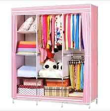 Portable Bedroom Wardrobe Closet Storage Organizer Clothes Rack Shelves Striped