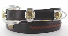 """WESTERN GOLD HALF EAGLE REPRODUCTION CONCHO MEN'S GOLF BELT LEATHER 1 1/4 """" NEW"""