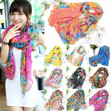 Womens Girls Long Print Cotton Scarf Wrap Ladies Shawl Large Silk Scarves Stole