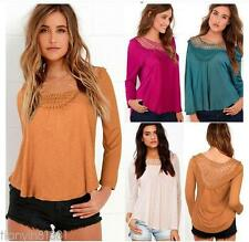 New Women Lace Tops Long sleeve Spliced Hollow Out  Blouse Casual T-shirt