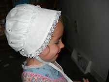 Handmade Baby Girl Bonnet - 100% Cotton White Eyelet & Lace Unique Shower Gifts