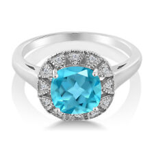 2.74 Ct Cushion Swiss Blue Topaz And White Diamond 925 Sterling Silver Ring