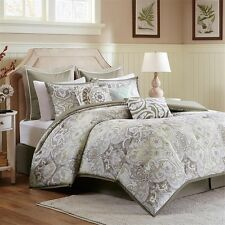 Luxury Taupe Pale Yellow Comforter Bed Skirt & Pillow Shams