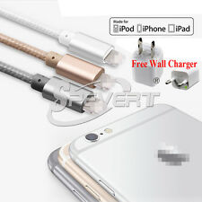 Travel Wall Charger Adapte+Nylon Lightning USB Cable For iPhone 5 5s 6 6s plus