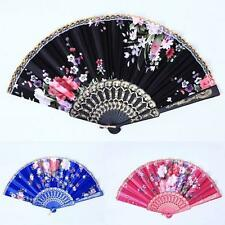 Pocket Chinese Hand Held Fan Flower Silk Fabric Folding Fan Party Wedding Prom