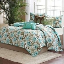 NEW Full Queen Cal King Bed Teal Green Tropical Floral 6 pc Quilt Coverlet Set