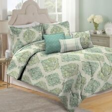 NEW Full Queen King Bed Aqua Blue Green Medallion 6 pc Comforter Set Elegant NWT