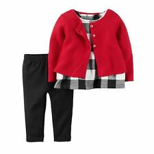 New Carter's 3 Piece Red Sweater Cardigan Tunic Top Leggings Set NWT 12m 18m 24m