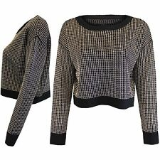 NEW LADIES CROP METALLIC LOOK JUMPER WOMENS CHAINMAIL KNIT BLACK SWEATER TOP