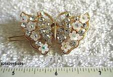 """1 NEW GOLD /SILVER TONE  METAL HAIR CLIP/ MULTICOLOR STONE BUTTERFLY 1 """" x 2 """" A"""