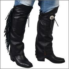 Concho and Fringe Leather Half Chaps Leg Warmers