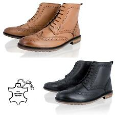 MENS LEATHER BROGUE LACE UP CASUAL SMART WINTER ANKLE CHELSEA BOOTS SHOES SIZE