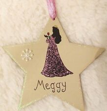 DISNEY PRINCESS AURORA HANDMADE PERSONALISED CHRISTMAS TREE DECORATION STAR GIFT