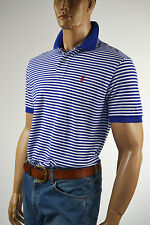 Ralph Lauren Classic Fit Blue & White Stripe Mesh Polo Shirt/Red Pony - NWT