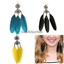 White Feather Tassel Lovely Chandelier Handmade Eardrop Dangle Earrings