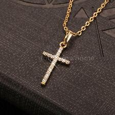Luxury Shining Women's Crystal CZ Cross Pendant Necklace Chain Gold/Silver C1F4