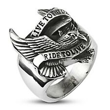 Spikes Stainless Steel Biker Eagle 'Live to Ride' Wide Cast Ring