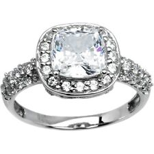 Sterling Silver Princess Cubic Zirconia Ring -2.18 ct tw