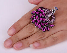 Peacock Stretch Crystal Ring For Women Cute Animal Bling Scarf Jewelry Gifts