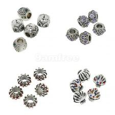 5PCs European Charm Spacer Dangle Spacer Flower Beads Silver Tone Fit Bracelet