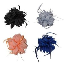Layered Flower Bead and Feathers Hair Beak Clip Brooch Corsage Bridal Fascinator