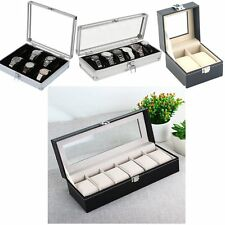 Leather Watch Jewelry Display Storage Holder Case 12 Grids Box Organizer Gift MG