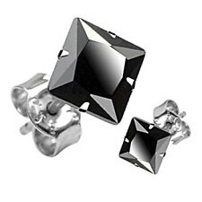 Spikes Stainless Steel Black Square CZ Stud Earrings