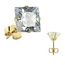 SPIKES 316L Stainless Steel Gold Plated Princess CZ Stud Earrings 3mm to 10mm