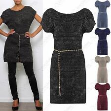 NEW LADIES LUREX KNIT JUMPER DRESS WOMENS CHAIN BELT SHINY LONG TUNIC LOOK TOP