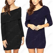 NEW LADIES BARDOT CABLE KNIT JUMPER DRESS WOMENS OFF SHOULDER KNITTED LONG TOP