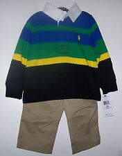 NWTS POLO RALPH LAUREN STRIPED RUGBY/PANT 6, 9, 18 MONTHS DRESSY EASTER NEW