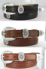 "TEXAS SILVER STAR STATE SEAL MENS  LEATHER CONCHO BELT 1 1/4 "" WIDE 3 COLORS NEW"