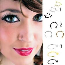 3pcs Stainless Steel Open Septum Eyebrow Nose Lip Body Ring Stud Hoop Piercing