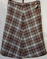 Vintage tweed skirt UNUSED 1970s wool mix DOMINANT Waist 28 30 32 inch brown