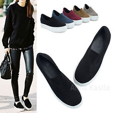 AnnaKastle New Womens Faux Suede Stretch Slip-On Platform Sneakers US 5 6 7 8