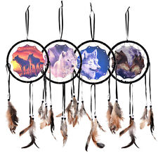 Handmade Dream Catcher With Feathers Wall Hanging Decoration Ornament-Wolf FT
