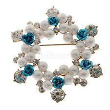 Fashion Crystal Fresh Water Pearls Floral Garland Wreath Brooch Pin Jewelry