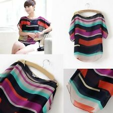 New Tops Short Sleeve Summer Casual ColorfulStriped Sleeve Bat T-shirt