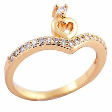 Clear CZ Love Heart Cute Ring Wedding Engagement,Size 6 7 8 Yellow Gold Filled