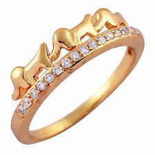 Vintage Gold Filled CZ Cute Lucky Elephant Girls Patry Fashion RingSize 6 7 8