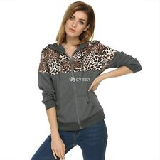 Stylish Women Leopard Stitching Sweater shirt Hooded Long Sleeve Pullover DZ88