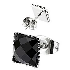 Spikes Stainless Steel Faceted Square Onyx Gem Stud Earrings