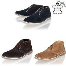 MENS BOYS MID LACE REAL SUEDE LEATHER DESERT CASUAL SMART ANKLE BOOTS SHOES SIZE