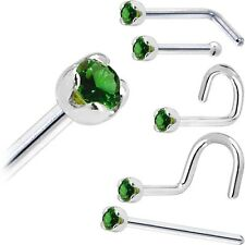 Solid 14KT White Gold (May) 1.5mm Genuine Emerald Nose Ring